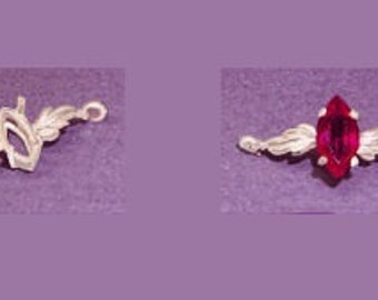 Sterling Silver ~ 8x4mm or 10x5mm~  Marquise cut ~ Leaf design ~ Bracelet links settings / Mountings ~ to be ordered ~ #167843 ~ FDK
