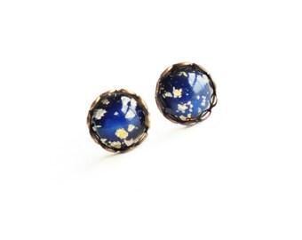 Tiny Opal Studs Tiny Post Earrings Vintage Iridescent Glass Studs Black Fire Opal Post Earrings Rainbow Opal Hypoallergenic