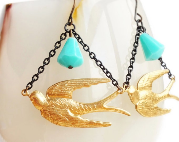 Brass Bird Earrings Large Vintage Style Sparrows Victorian Swallows Aqua Turquoise Bird Jewelry