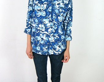 Blue Floral Patterned 90's Blouse