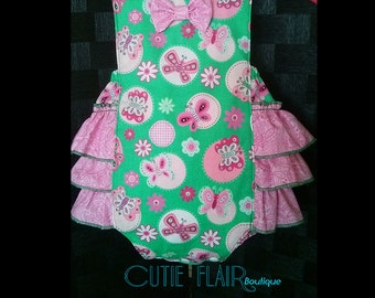 Baby Girl Romper - Valentines Outfit - Baby Retro Sunsuit Romper - Ruffle Romper - Cake Smash Outfit - Green Romper - Baby Birthday Romper