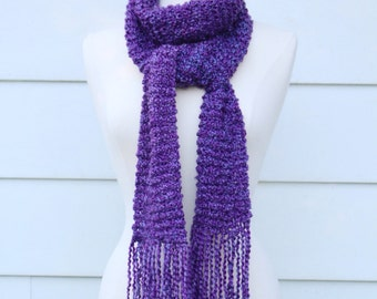 Purple knit scarf, royal purple scarf, warm winter scarf, scarf with fringe, long scarf, women's scarf, traditional scarf