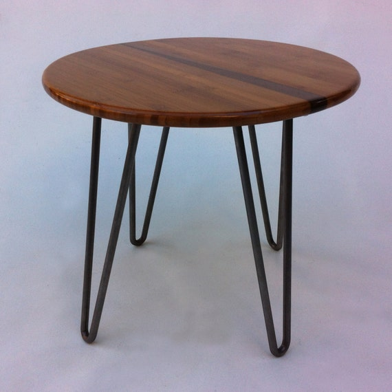 Mid Century Modern Round Side Table : QUICK SHIP! 18