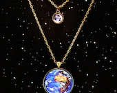 Astronomy Earth and Moon Planet Necklace Science Jewelry- Mothers Day Gift