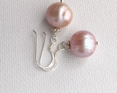 Natural Pink Pearl Earrings. Baroque Freshwater Pearls and Sterling Silver.