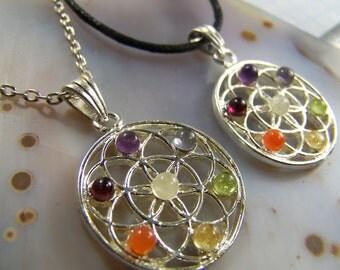 Flower of Life Chakra pendants with Rainbow Gemstones - Amethyst necklace Peridot Citrine Carnelian Garnet Moonstone - silver chain cord