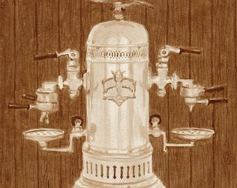 coffee art, Victoria Arduino Espresso Machine, painted using only coffee, espresso, 1890s, vintage