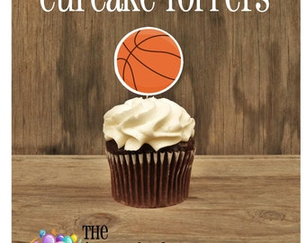 Basketball Friends Party - Set of 12 Basketball Sports Cupcake Toppers by The Birthday House