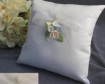 Pastel Rose Wedding Ring Bearer Pillow - 75412
