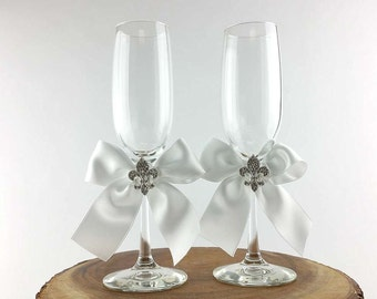 Crystal Fleur de Lis Ribbon Toasting Glasses - Custom Colors - Custom Engraving Available - 300301