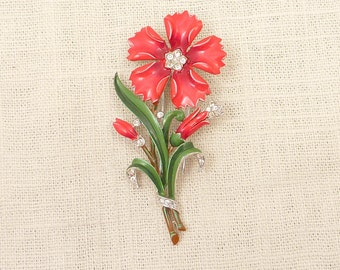 1940s Alfred Philippe Trifari Gorgeous Red Enameled Flower Fur Clip with Rhinestone Accents