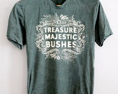 Majestic Bushes    Unisex tshirt, Heather Forest Green, 5% Donated to Amazon Conservation Association, nature lovers tshirt    by Simka Sol