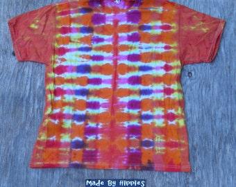 Bright Orange Vibration Tie Dye T-Shirt (Jerzees Size XL) (One of a Kind)