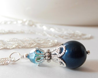 Pearl and Crystal Necklace Dark Teal Bridesmaid Jewelry