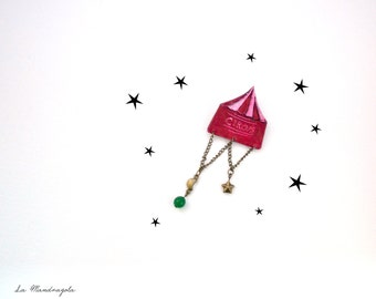Night Circus Tent magenta and emerald green brooch. Victorian brooch