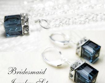 Blue Bridesmaid Jewelry Sets, Wedding Blue Bridal Jewelry, Blue Sapphire Crystal Necklace, Blue Swarovski Earrings, Bridesmaid Sets