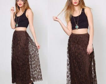 Vintage 70s Brown LACE Maxi Skirt  BOW Print Lace Boho Long Skirt Evening Skirt