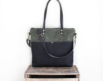 Waxed Canvas Tote in Green and Black with Exterior Pockets