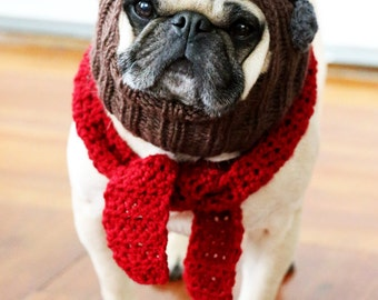 The Red Baron - Dog Hat and Scarf Set - Pug Hat - Avaiator Hat - Dog Costume - Pet Clothing - Pet Supplies
