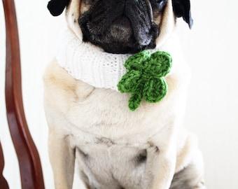 Lucky Clover Knit Dog Collar - Dog Scarf - Dog Neck Warmer