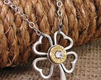 St. Patrick's Day - Bullet Jewelry - Bullet Necklace - Lucky Shot Clover Shaped Bullet Casing Necklace - A SureShot Original