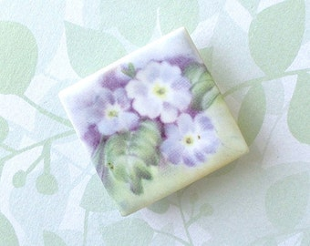 Ceramic Brooch. English Primroses. Lavender Flowers. Square. Clay. Periwinkle. Violet. Purple. Green. Shabby Chic. Floral. Large Ceramic Pin