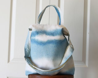 Kara Bag. Travel Bag. Briefcase. Purse. Canvas Tote in Blue.