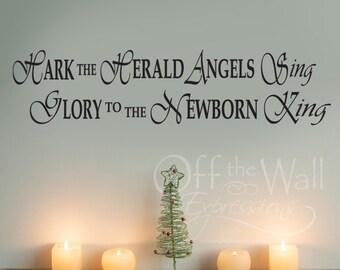 Hark the Herald Angels Sing vinyl decal, Christmas Carol decal, front door decal