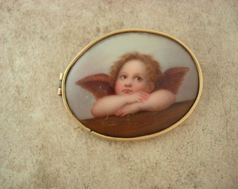 Reserved for Nancy Antique 14kt GOLD 1880s Brooch Raphael Angel  Cupid cherub handpainted on porcelain Large estate jewelry