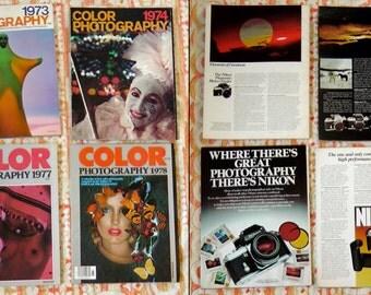 Lot of 7 Color Photography Magazines Ziff-Davis 70s counterculture art photography analogue camera technology advertisements artists bios