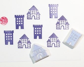 old castle stamps. building hand carved rubber stamp. village stamp. christmas holiday crafts. fairytale birthday scrapbooking. set of 2
