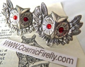 Owl Cufflinks Red Ruby Color Swarovski Elements Crystal Eyes Gothic Victorian Antiqued Silver Cufflinks Men's Cufflinks Red Eyes Handcrafted