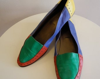 Colorblock bold color 80s / 90s leather flats sz. 8.5 / 9.5