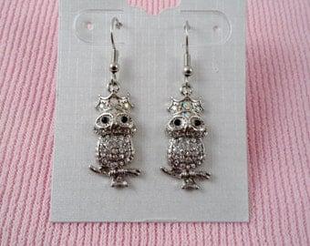Sparkly Clear Rhinestone Owl Earrings