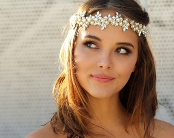 Vintage Crystal and Pearl Crown - Claudine
