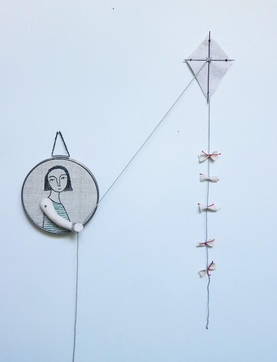 hoop art hand embroidered art -girl with kite textile art fiber art