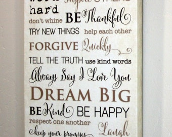 """10x20"""" Family Rules Canvas Gallery Wrap"""