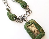 Steampunk Necklace Antique Watch Polymer Clay Frame Angel Wings