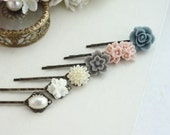 Pink and Grey Flower Hair Pins Clips, Ivory, White, Grey Blue, Pearl Flower Bobby Hair Pin, Grey Bridal Wedding, Set of Six, 6 Hair Pin, BFF