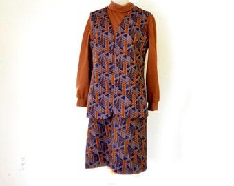 70s Dress Vest Bleeker Street Polyester Dress 28 Inch Waist