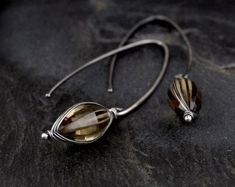 Bi-quartz earrings, smoky quartz and yellow quartz, oxidized sterling silver, long dangle earrings, wire wrapped jewelry handmade - Smolder