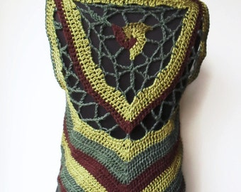 Forest Pixie Triskelion Mandala Vest Waistcoat in Hemp Crocheted Green and Brown Ready to Ship