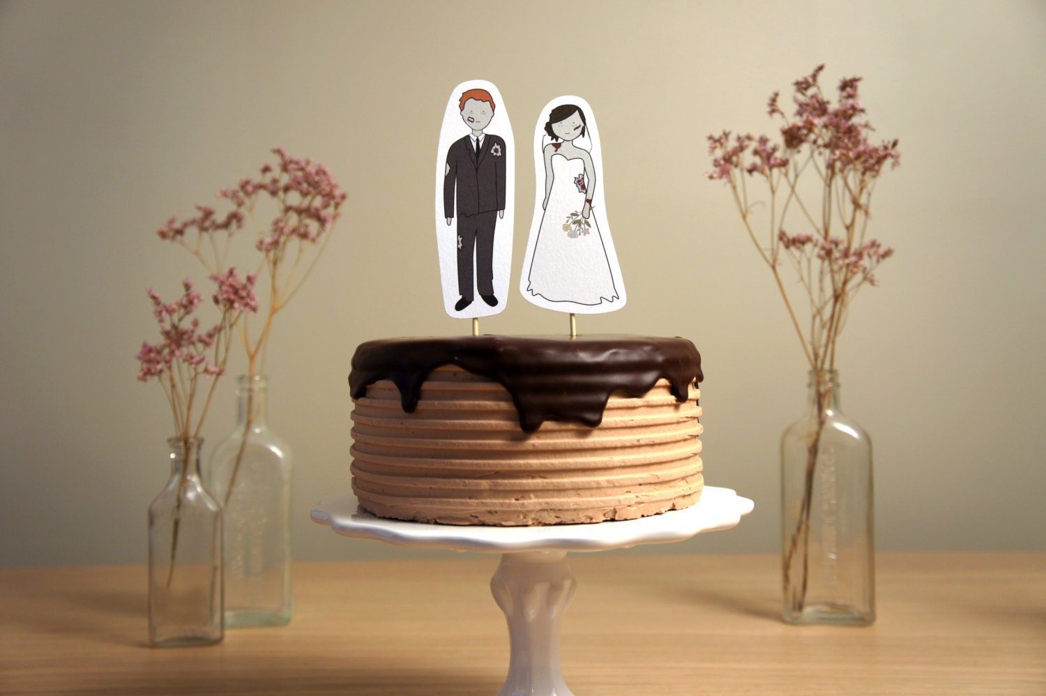 Zombie Bride and Groom Wedding Cake Topper