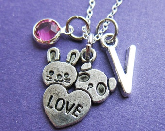 Rabbit Panda LOVE Necklace - Custom Best Friend Necklace, Personalized Initial Name, Swarovski crystal birthstone