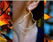 Branch earrings with Sterling Chain Swag in Copper, Bronze or Sterling