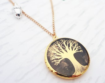 From Small Seeds Tree Locket Necklace - Gold