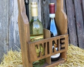 Wine Tote -  2 Bottle Wine Carrier - Unique Cutout Style - Groomsmen Gift - Bridesmaid Gift  - Wedding Gift - Christmas Gift - Hostess Gift