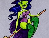 Wicked Witch Pin-up Themed Girl Original Halloween Drawing