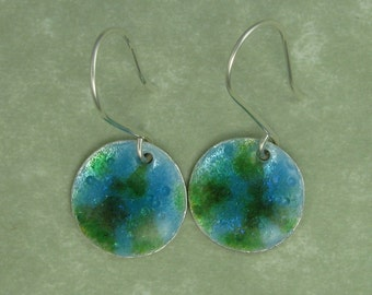 Blue and green enameled fine silver earrings dichroic extract PMC DTPD
