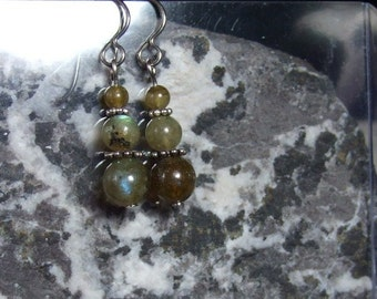 Labradorescence Exists 3 Round Beads of  Labradorite Silver Embellishments Dangle Earrings Titanium Ear Wires Hypo Allergenic
